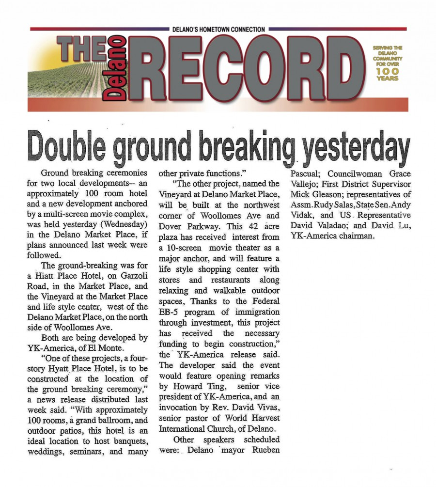 Delano Record news